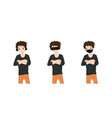 men covering ears eyes and mouth vector image vector image