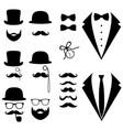men s tuxedo mustache glasses beard pipe and vector image