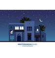 night view of mediterranean arabic or moroccan vector image vector image