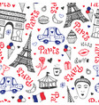Paris seamless pattern with eiffel tower vector image