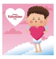 poster romantic valentine day cupid with pink vector image vector image