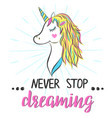 poster with unicorn and hand lettering vector image