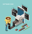 programming isometric concept vector image vector image