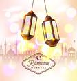 Ramadan Mubarak with 3d lamps vector image vector image