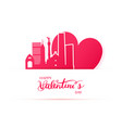 red heart and silhouette of mexico city paper vector image vector image