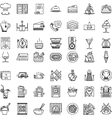 Restaurant flat line icons collection vector image