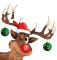rudolph reindeer winking with christmas balls vector image vector image