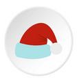 santa claus hat icon circle vector image vector image