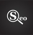 seo search engine optimization on black background vector image