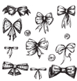 set bows hand drawn vector image vector image