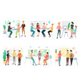 set different business people working in office vector image vector image