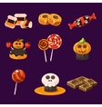 Set of colorful halloween sweets and candies vector image