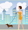 sexy girl walking with a dog vector image vector image