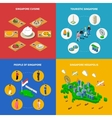 Singapore Travel Isometric 4 Icons Square vector image vector image