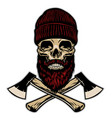 skull lumberjack with crossed axes vector image vector image