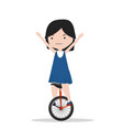 small girl riding a unicycle vector image