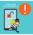 Stealing personal information from your mobile vector image vector image