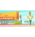 Supermarket Shopping Outdoor Retro Cartoon Poster vector image