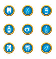 toothache icons set flat style vector image vector image