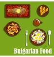 Traditional bulgarian cuisine dishes and drink vector image vector image
