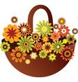 vintage floral basket vector image vector image