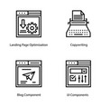 web page interface line icons vector image vector image