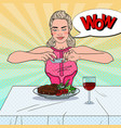 woman taking photo of food in restaurant pop art vector image vector image