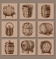 wooden barrel vintage old hand drawn sketch vector image vector image
