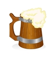 wooden beer mug on isolated background vector image vector image