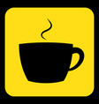 yellow black information sign - cup with smoke vector image vector image