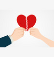 hands tearing apart heart symbol vector image