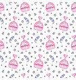 seamless pattern with hand drawn sweet cupcakes vector image