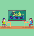 back to school inscription written on blackboard vector image vector image