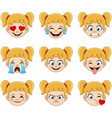 blond girl face with blue eyes emoji expressions vector image vector image