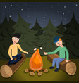 boys cook marshmallow on fire concept background vector image