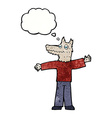 cartoon happy wolf man with thought bubble vector image vector image