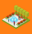 city public park or square object 3d isometric vector image vector image