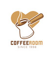 coffee room cafe icon template of heart and vector image vector image