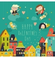 Cute angels celebrating Valentines Day vector image vector image