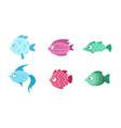 cute fish set marine or aquarium fish vector image vector image