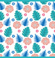 cute flowers and leafs pattern vector image