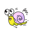 cute snail isolated cute smiling snail vector image vector image