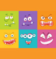 different monster facial expression vector image