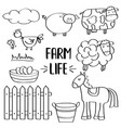 doodle animal farm set for colorig vector image