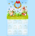 Easter calendar with banner of holiday symbols vector image