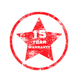 fifteen year warranty red grungy stamp vector image