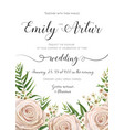 floral wedding invitation card design with flowers vector image vector image