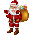funny santa in red suit with gifts cartoon vector image vector image