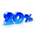 glossy blue 20 twenty percent off sale isolated vector image vector image