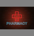 glowing neon signboard pharmacy on brick wall vector image vector image